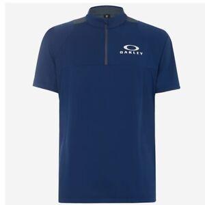 Oakley Golf Polo Mens Enhance Mock Short Sleeve 9.0 Golf Shirt Blue Large NWT