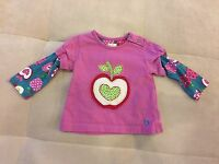 Hatley Girl Top Shirt Size 3-6 Month Purple With Apple Soft Cotton