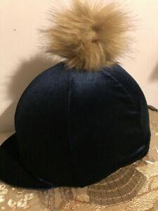 Riding Hat Cover Navy Velour with Pom Pom