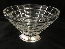 "DECORATIVE VINTAGE GLASS BOWL WITH FRENCH SILVER (950) BASE 8"" x 5"""
