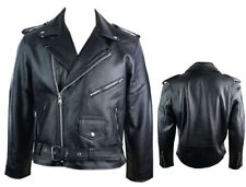 Men's Genuine Buffalo Leather Perfecto Classic Brando Biker Motorbike Jacket