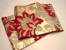 Gorgeous Japanese Silk  Fukuro Obi w/Flower & Phoenix Design