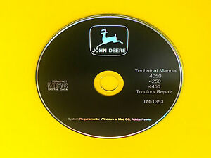 TM1353 John Deere 4050,4250,4450 Tractor Technical Service Manual Repair Book CD