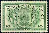Canada #OE10 mint VF+ OG HR 1942 Special Delivery 10c green Perforated OHMS