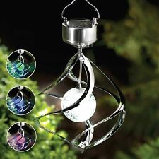 Outdoor Garden Colour Changing LED Solar Powered Wind Spinner Spiral Light Lamp