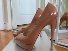 Brian Atwood Nude Patent Leather Platform Peep Toe Pump Heels 38