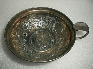 Ornate Antique Sterling Silver Ashtray w 1871 Amadeo I Rey Coin 5 Pesetas