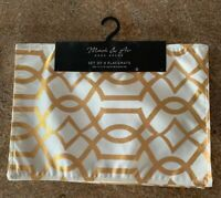 SET OF 4 WHITE/ GOLD PLACEMATS Abstract Geometric Design Table Mats Xmas Holiday