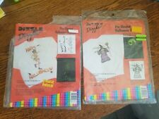 Vintage Halloween Iron On T-Shirt Transfers Skeleton & Witch Lot of 2