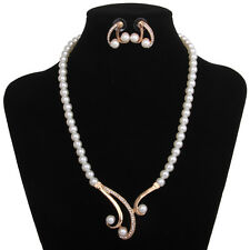 Fashion Women Crystal Diamante Pearl Pendant Necklace Earrings Jewelry Set
