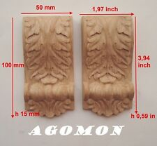 Wood Carved Console Corbel set 2 pc Onlay Applique Sticker Home Decor Furniture