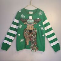 NWT 🎄 Ugly Christmas Holiday Sweater Reindeer Tinsel Scarf Snowflake - Womens L