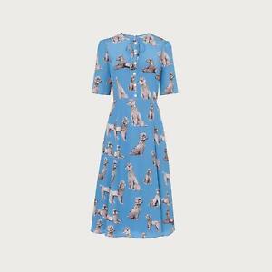 L.K.Bennett Crawford Poodle Print Blue Silk Tea Dress