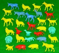 Lot of 28 Vintage Hard Plastic Toy Farm Animals Red Yellow Blue Cow Sheep Etc
