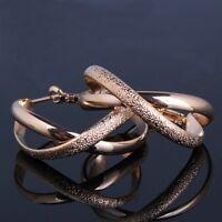 HUCHE Infinity 18k rose gold filled Eye-catching chic wedding smart hoop earring