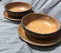 McCoy Pottery USA #1413 Set Of 2 Brown Mesa Canyon Bowls and Plates