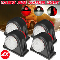 4x 12 LED Mini Feux de Gabarit Position Rouge Blanc 12V 24V Remorque Camion Bus