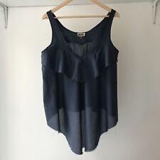 Diesel Womens 100% Cotton Ruffle V-neck Sleeveless Top, Size Medium
