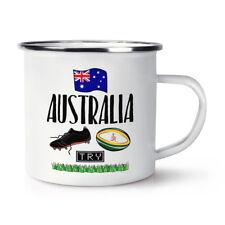 Rugby Australia Retro Enamel Mug Cup - Funny League Union Flag Sport Camping