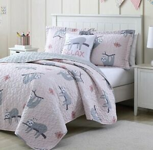 "Sloth Comforter Set Twin, 3 Piece Quilt Bedspread Bedding Pink Gray ""Relax"" Kids"