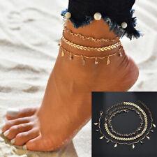 Anklets Foot Jewelry Ankle Bracelets 3Pcs/Set Gold Crystal Star Female