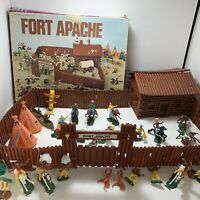 Vintage Marx Fort Apache Playset Kit Cowboys Indians Wagon Teepees Hong Kong