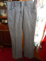 31x29 True Vtg 70s mens GRAY POLYESTER TWILL FLARE PANTS JEANS
