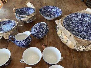 Blue Calico Large Creamer Burleigh Staffordshire England VTG New