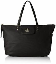 NWT TOMMY HILFIGER VERONICA LARGE EAST WEST TOTE BAG BLACK NYLON $118