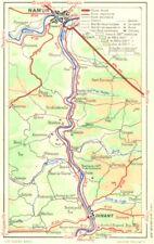 BELGIUM. Vallee de Meuse-Dinant a Namur 1953 old vintage map plan chart