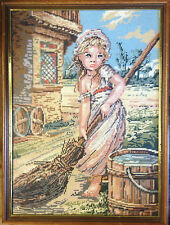 BRT Vintage Retro 1960's - 1970's framed french maiden tapestry wall hang