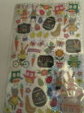 70 Happy Easter Stickers Metallic  Holographic Decorations,  eggs, chicks, bunny