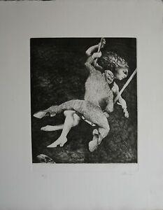 """Ennio Calabria acquaforte 1976 la Giostra da  """"i giorni del mio tempo"""" 50x35"""
