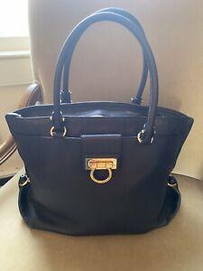 Salvatore Ferragamo XL Black Leather Handbag Satchel Tote