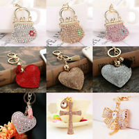 Rhinestone Crystal Keyring Charm Pendant Purse Bag Key Ring Chain Keychain New