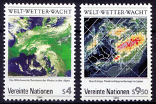 UN (V) 1989 MNH 2v, Weather, Satellite images, Maps, Communication (B8n)