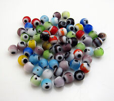 200pcs Mixed colors Glass Turkey Evil Eye Hamsa Charms Loose Spacer Beads 4mm