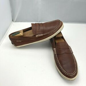 Cole Haan Moc Toe Penny Loafer Boat Shoes Brown Suede Leather Mens Size 9M