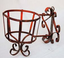 Vintage Wrought iron basket plant hanger pot holder wall mount vintage