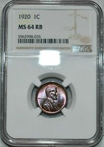 1920 LINCOLN WHEAT CENT NGC MS 64 RB BEAUTIFUL RED BROWN COLOR GEM APPEAL