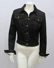 ROBERTO CAVALLI DENIM JACKET BLACK JEAN PATCHWORK SIGNATURE LINING EXPENSIVE S