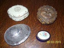 4 Trinket Boxes, Musical Footprints Lenox 1997, Wooden, Avon 1977, 1986 Flowers