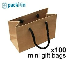 x100 MINI KRAFT BROWN paper gift CARRY party BAGS with handles (100 x 150mm)