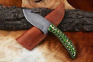 MH KNIVES CUSTOM HANDMADE DAMASCUS STEEL GUT HOOK HUNTING/SKINNER KNIFE D-32W