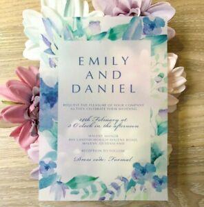 Velum Watercolour Flower Wedding Invitation translucent clear invitation