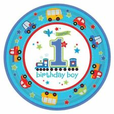 8pk All Aboard First Birthday Paper Plates 23cm Birthday Boy Party Tableware