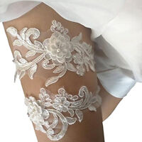 2pcs Lace Bridal Garter Flower Beaded Wedding Bride Prom Hen Party Leg Supplies