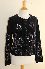 Michael Simon Sz S Velveteen Plush Stars Artsy Embroidered Beaded Cardigan Top