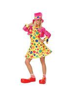 Adult Clown Circus Fun Hooped Fancy Dress Costume Ladies Women Female BN