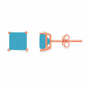 1.5 ct Princess Cut Studs Simulated Turquoise 18k Rose Gold Earrings Push back